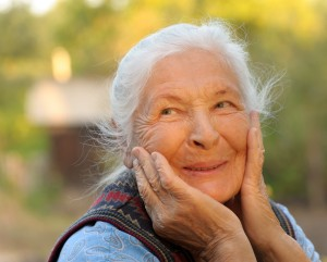 Portrait of the laughing elderly woman